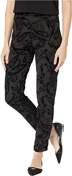 Ponte Pants with Flocked Velvet Paisley
