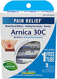 Boiron Arnica Montana 30C, 3 Tubes (80 Pellets per Tube), Homepathic Medicine for Pain Relief