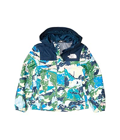 The North Face Kids Resolve Rain Jacket (Little Kids/Big Kids) (Jaiden Green Valley Block Print) Girl