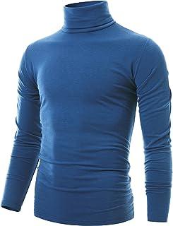 Ohoo Mens Slim Fit Soft Cotton Pullover Light Mock Neck