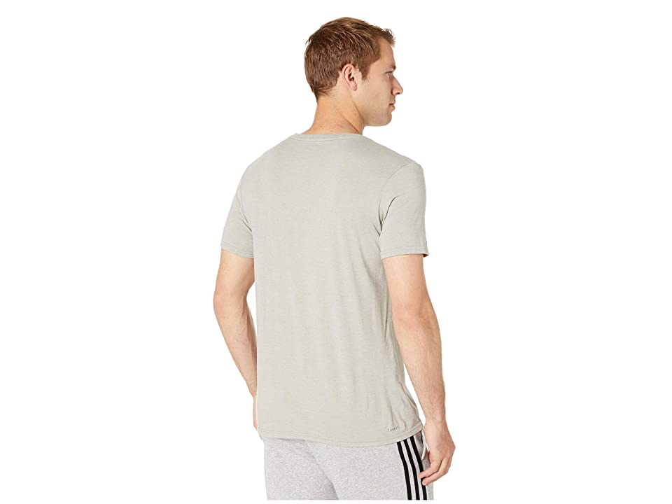 adidas Badge of Sport Classic Tee (Medium Grey Heather/True Orange) Men's T Shirt, Gray