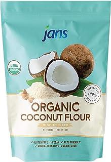 Jans Organic Coconut Flour 1.1lb   Gluten-Free   Certified Organic   Keto, Paleo, & Vegan Friendly (1 Pack)