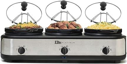 Elite Platinum EWMST-325 Triple Slow Cooker Buffet Server, Adjustable Temp Dishwasher-Safe Oval Ceramic Pots, Lid Rests, 3 x 2.5Qt Capacity, Stainless Steel