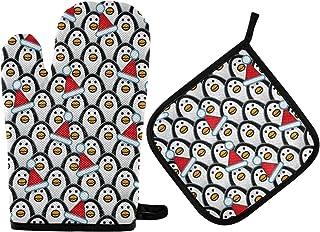 GOSMAO Gants de Four,Gants de Barbecue Résistant à Chaleur 2 Paire et 1 Maniques, Chapeaux de Père Noël Penguins Rouges,An...