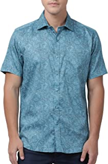 Zeal Floral Printed Cotton Regular Fit Turquoise Blue Half Sleeves Shirts for Men