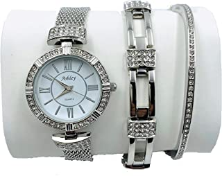 Ashley Princess Women's 3 Piece Watch & Jewelry Gift Set, Mother's Day Special - Silver - 8891