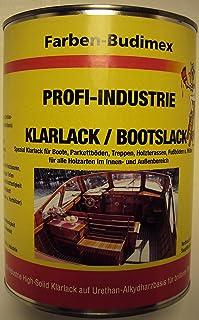 Farben-Budimex Profi-Industrie Klarlack/Bootslack/farblos/seidenmatt / 750 ml/Spezial Klarlack für Boote, Parkettböden, Treppen, Holzterassen, Möbel u.v.m. Lösemittelbasis