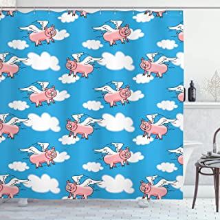 Ambesonne Pig Decor Collection, Flying Pig Cartoon Characters with Wings to Represent the Saying Great Kid Clouds Image, Polyester Fabric Bathroom Shower Curtain, Blue White Salmon
