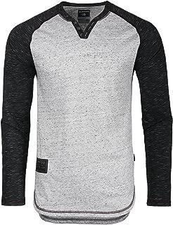 Mens Long Sleeve Baseball Basic Raglan V-Neck Henley Round Bottom T-Shirt