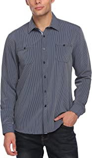 Men's Wrinkle-Free Classic Vertical Striped Long Sleeve Business Dress Shirts