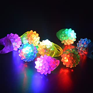 C&H Solutions Novelty 24 ct Flashing LED Bumpy Rings Blinking Soft Jelly Glow by C&H