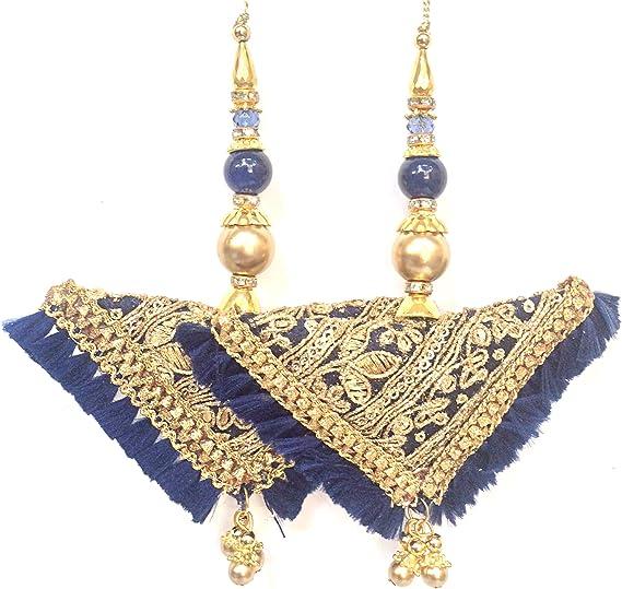 Indian Leaf Cut Sky Blue Tassels Boho Hippie Jewelery Making Ethnic Latkans Craft Sewing Home Decor Dress Material Embellishments