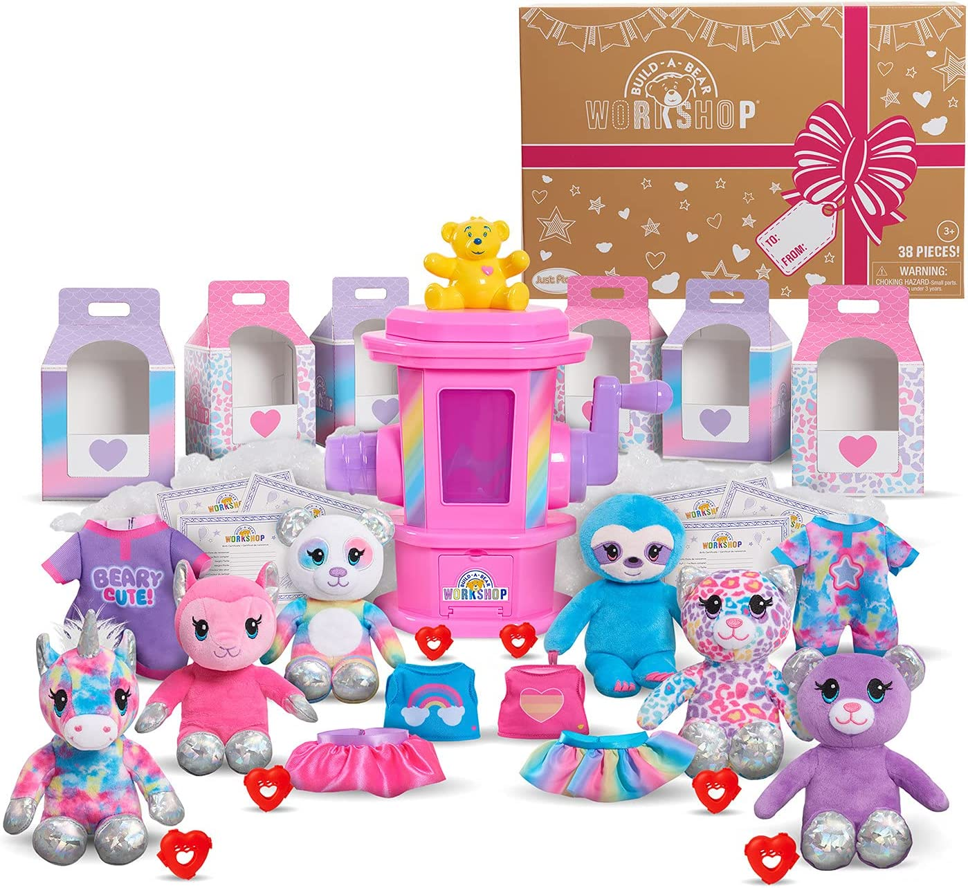 Just Play Build A Bear Workshop Deluxe Stuffing Station Party Pack Plush Basic, Ages 3 Up, Multi-Color (74202)
