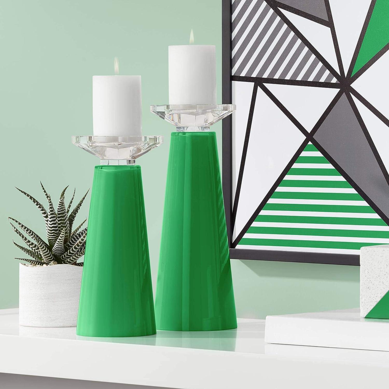 Color + Bargain Plus Meghan Envy Branded goods Green Candle Holder Glass Set Pillar of
