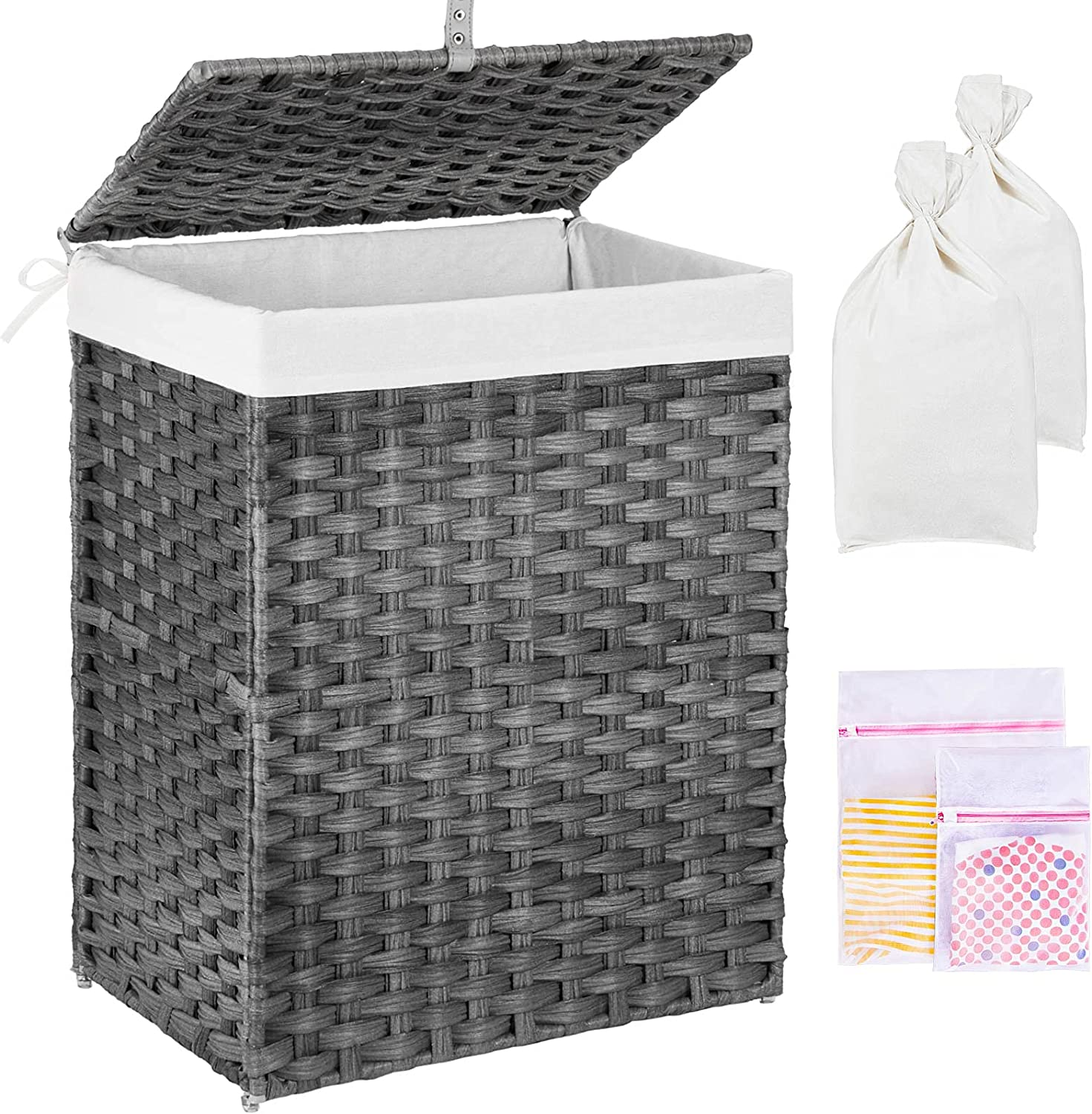 GREENSTELL Laundry Hamper with Milwaukee Mall Lid OFFicial store 90L Clothes 2 Re