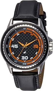Fastrack Men's Black Dial Leather Band Watch - 3142SL01