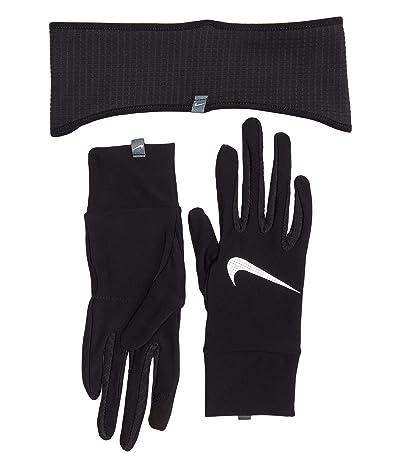 Nike Essential Running Headband and Gloves Set (Black/Black/Silver) Gore-Tex Gloves