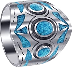 Gem Avenue Mens 925 Sterling Silver Turquoise Chip Inlay Mosaic Design Ring