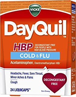 Vicks DayQuil Cold and Flu Medicine for High Blood Pressure, 24 Liquicaps - Headache, Fever, Sore Throat, Minor Aches and ...