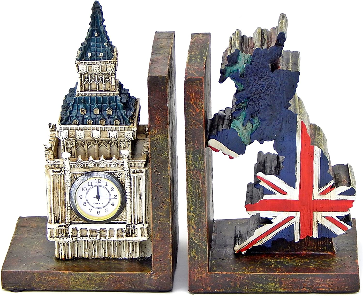 Bella 26348 Big Ben Clock Tower and UK Union Jack Flag Map Bookends.