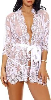 Sykooria Conjunto de Lencería Sexy Bata de Encaje Babydoll Kimono Ropa de Dormir Escote en V Profundo Camisón Camisón Ropa...