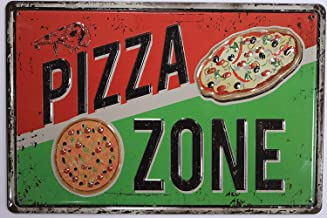 ERLOOD Pizza Zone Tin Sign Home Kitchen Signs Wall Decor Metal Funny Art Retro Vintage Distressed 12 X 8