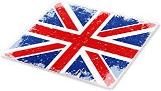 Lunarable British Cutting Board, Abstract England London Flag Old Vintage Like Print with Shadow Print, Decorative Tempered Glass Cutting and Serving Board, Large Size, Navy Blue