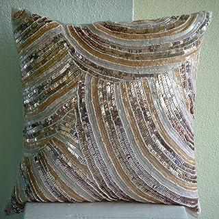 Luxe Ivoire Taie D'Oreiller Décoratif, Paillettes Et Perles Briller Sparkly Couverture D'Oreillers, 40x40 cm Taie D'Oreill...