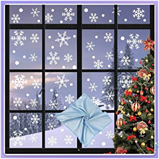 Haffyce 301 PCS Window Stickers for Christmas,Snowflake Window Clings Reusable White Wonderland Decoration Decals for Ornaments Holiday Party Supplies,7 Sheets,Give A Piece Of Non-Linting Glass Cloth