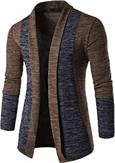 Modfine Men's Casual Cardigans Long Sleeve Slim Fit Open Front Shawl Collar Cardigans