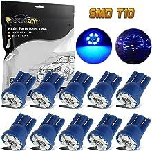 Partsam 10Pcs Blue T10 168 194 Speedometer Odometer Instrument Gauge Cluster Light Bulb