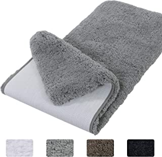 Lifewit Bathroom Rug Bath Mat Non-Slip Rubber Microfiber Soft Water Absorbent Thick Shaggy Floor Mats, Machine Washable, Grey,59
