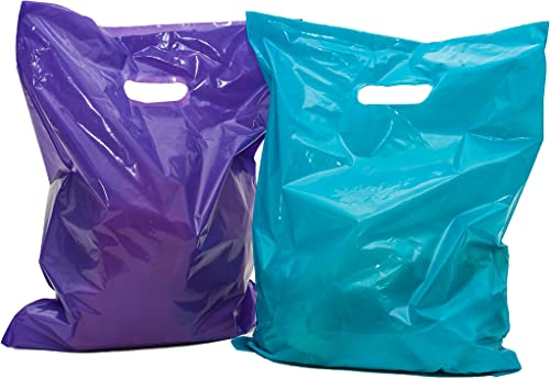 "Merchandise bags: ACME Bag Bros 100 large purple and teal merchandise bags, plastic bags with handles 12x15""; plastic..."