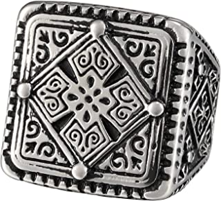 Zoro Mens Stainless Steel Large Heavy Square Ring, Vintage Gothic Four Leaf Clover Cross Signet, Black Silver