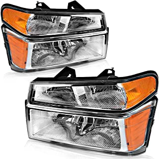 For 2004-2012 Chevy Colorado/GMC Canyon Headlights, OEDRO Replacement 06-08 suzu i-Series 4-Dr & 2-Dr Chrome Housing + Bumper Lights Amber Side Clear Lens Headlamps Set Left+Right, 2-Yr Warranty