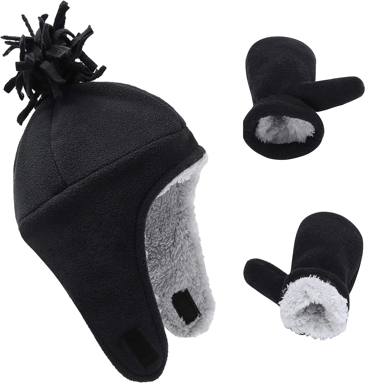 ACTLATI Kids Fleece Hat Winter Mitten Set Toddler Warm Earflap Caps Kids Soft Fleece Line Beanie Set for Boys Girls