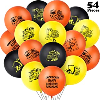 Gejoy 54 Pieces Construction Balloons Construction Themed Latex Balloons Construction Zone Party Balloons Dump Truck Latex Balloons for Birthday Baby Shower Party Supplies