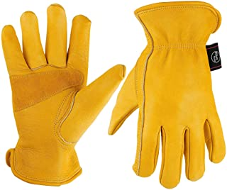 KIM YUAN Leather Work Gloves for Gardening,Yard Work, Farm, Construction
