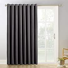 (250cm x 210cm , Charcoal Gray) - Sun Zero Easton Blackout Patio Door Curtain Panel, 250cm x 210cm , Charcoal Grey