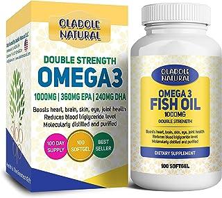 Oladole Natural Fish Oil Omega 3 1000 mg 360 EPA 240 DHA double strength, Boosts heart, brain, skin, eye, joint health, Re...