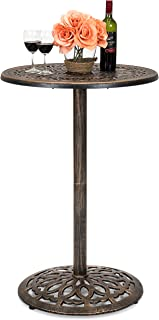 Best Choice Products Outdoor Round Bar Height European Style Cast Aluminum Bistro Table, Copper