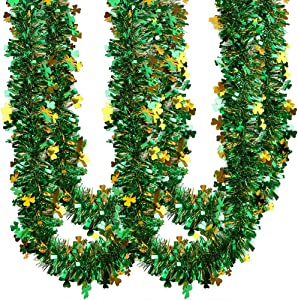 CCINEE 33FT St.Patrick's Day Tinsel Garland,Shamrock Clover Green Gold Metallic Garland for Irish Party Home Decoration