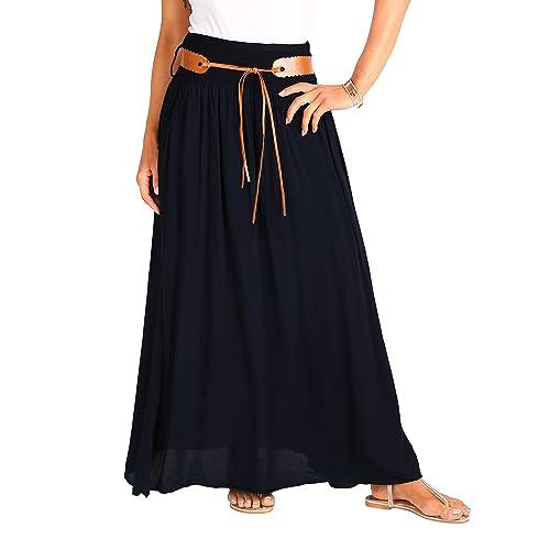 2c1c11e4bd KRISP Falda Larga Bohemia Elegante Plisada Hippie Cintura Elástica