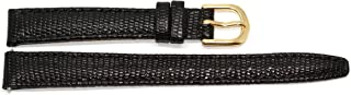 12mm Black Padded Stitched Italian Lizard Grain Leather Watch Band Strap