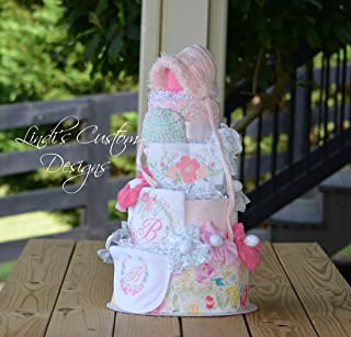 Watercolor Floral Embroidered Diaper Cake
