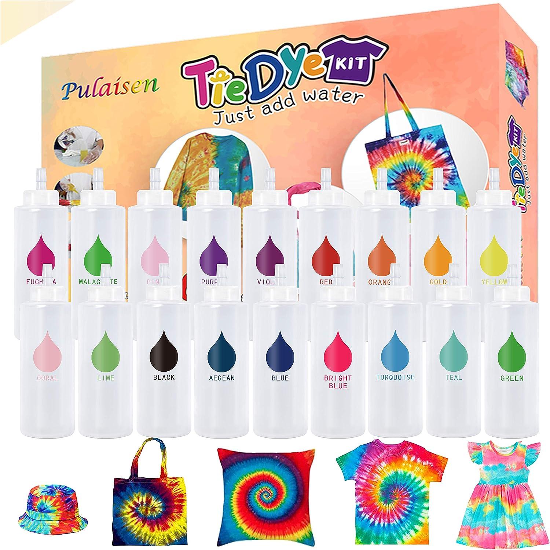 Tie Dye Kit, Tie Dye kit for Kids, 18 Bottles 36 Packets Dye, One-Step Fabric Dye Art Party Set, DIY Gift, Textile, T-Shirt, Canvas for Adults, Women, Men, Artist, Kids(18 Colors)