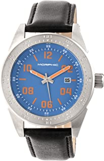 M63 Series Leather-Band Watch w/Date - Silver/Blue/Black