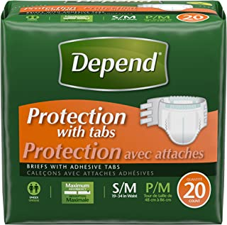 Depend Incontinence Protection with Tabs, Maximum Absorbency, S/M, 20-Count (Pack of 3)