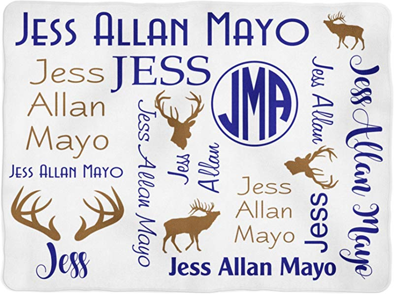 Emily Gift Deer Blanket Personalized Baby Blanket Antler Blanket Monogram Swaddle Blanket Monogrammed Name Baby Shower Gift 30x40