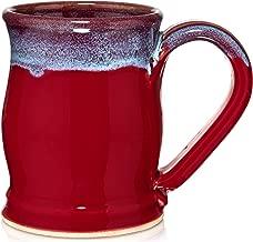 Uncommon Clay 20oz Barrel Coffee Mug Handmade in the USA (Red/Blue)